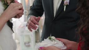 The couple exchange rings stock footage