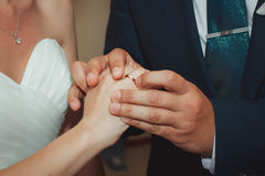 The couple exchange wedding rings Stock Images