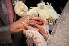 The couple exchanged rings. close-up. wedding Stock Image