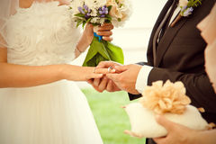 Couple exchanging the rings Royalty Free Stock Photos