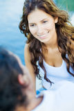 Couple exchanging words Royalty Free Stock Image