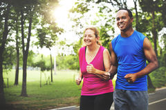 Couple Exercise Wearing Happiness Healthy Concept Stock Images