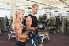 Couple exercising with dumbbells in gym Stock Photos