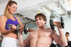 Couple exercising in gym with weights Royalty Free Stock Photography