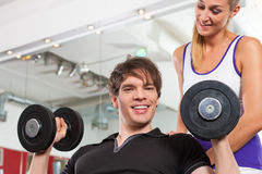 Couple exercising in gym with weights Stock Images