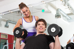 Couple exercising in gym with weights Stock Photos