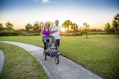 Couple exercising and jogging together at the park Royalty Free Stock Photo