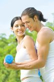 Couple exercising, outdoors Stock Images