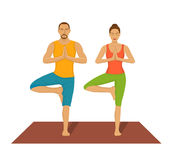 Couple exercising yoga together. Partner Yoga Vector Illustration. Tree Yoga Asana Royalty Free Stock Images