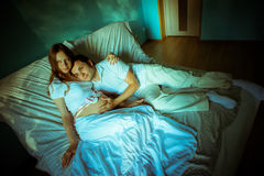 Couple expecting baby. Happy future dad and his Royalty Free Stock Image