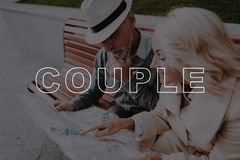 Couple Explore City Map . Couple Love Story . stock photos