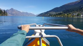 Leisure recreational image of aqua bike in Queenstown, New Zealand royalty free stock images