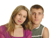 Couple faces. Isolated royalty free stock image
