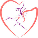 Couple faces in heart shape. Clip art image Royalty Free Stock Photography