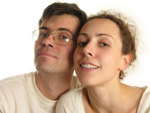 Couple faces isolated. Smile stock photography
