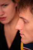 Couple faces quarrel. Close-up of couple faces quarrel Stock Photo