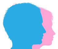Couple faces silhouettes Stock Photos