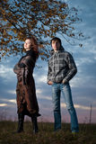 Couple at fall sunset Royalty Free Stock Photography