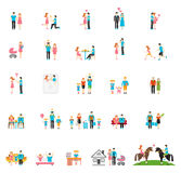 Couple and family flat figures. People child girl daddy brother infant daughter sister mom. Vector illustration Stock Photos