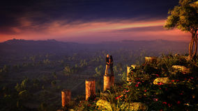 Couple On Fantasy Landscape Royalty Free Stock Photos