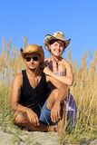 Couple in the farm field Stock Photography