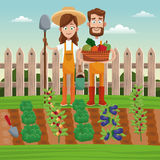 Couple farmers vegetable basket field fence. Illustration Stock Photo