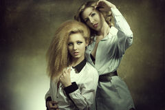 Couple fashion blonde girls Stock Photography