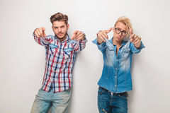 Couple of fashion casual men choosing you Stock Images
