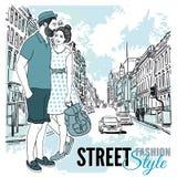 Couple Fashion City Street Poster royalty free illustration