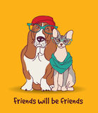 Couple Fashion friends pets fun animals card. Stock Photos