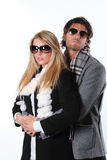 Couple of fashion models embraced Stock Photo