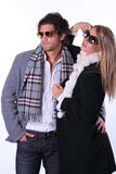 Couple of fashion models with sunglasses Stock Photography