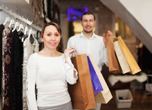 Couple at fasion store Royalty Free Stock Image