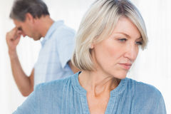 Couple feeling distant after fight. At home royalty free stock images