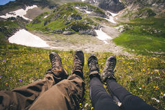 Couple Feet Man and Woman in love relaxing outdoor Royalty Free Stock Photos