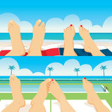 Couple Feet Pool Beach Royalty Free Stock Image