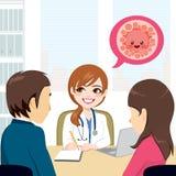 Couple On Fertility Clinic. Fertilization treatment consultation with doctor vector illustration