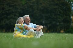 Couple on field Royalty Free Stock Photos