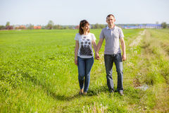 Couple on the field. Happy couple on the field Royalty Free Stock Photo