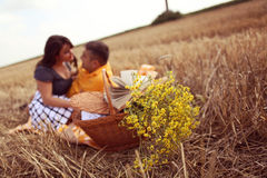 Couple in the fields having picnic Royalty Free Stock Photos