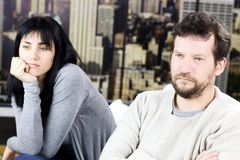 Couple after fight angry at home in New York Royalty Free Stock Photo