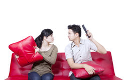 Couple fight - isolated. Asian couple fight on white background royalty free stock images