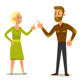 Couple in a fight.Vector Illustration of flat design stock image