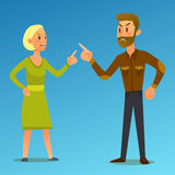 Couple in a fight.Vector Illustration of  flat design Royalty Free Stock Image