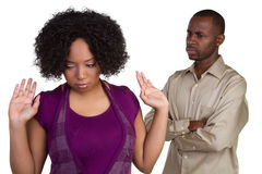 Couple Fighting. Angry african american couple fighting royalty free stock photography