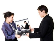 Couple fighting for laptop Royalty Free Stock Photo