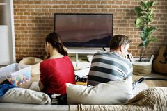 Couple fighting in the living room Royalty Free Stock Photo