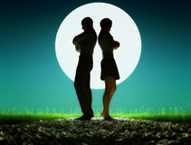 Couple fighting. Man woman standing on rocky ground fighting Royalty Free Stock Photos