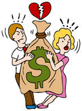 Couple Fighting Over Money. An image of a couple fighting over a bag of money Royalty Free Stock Photography