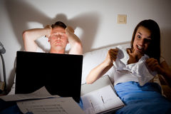This Couple Is Fighting Because He`s Working Too Much Stock Images